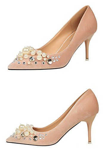Manyis Fashion Women Shallow Cute Pearl High Heels Lady Crytal Stiletto Point-Toe Shoes Apricot