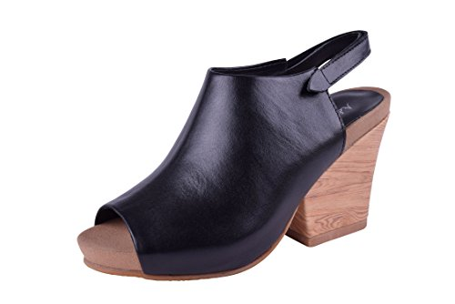 Addiction by Fabia Size 9-13 Womens Genuine Leather Wedges Cushioned Peep Toe Shoes Wide Black