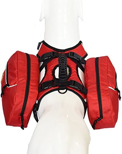 smartelf Dog Saddlebag Backpack Adjustable Hiking Gear 2 in 1 Pack Hound Rucksack Carrier for Traveling Walking Camping Medium Large Breeds