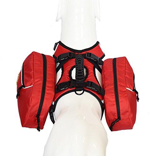 smartelf Dog Saddlebag Backpack Adjustable Hiking Gear 2 in 1 Pack Hound Rucksack Carrier for Traveling Walking Camping Large Breeds-L