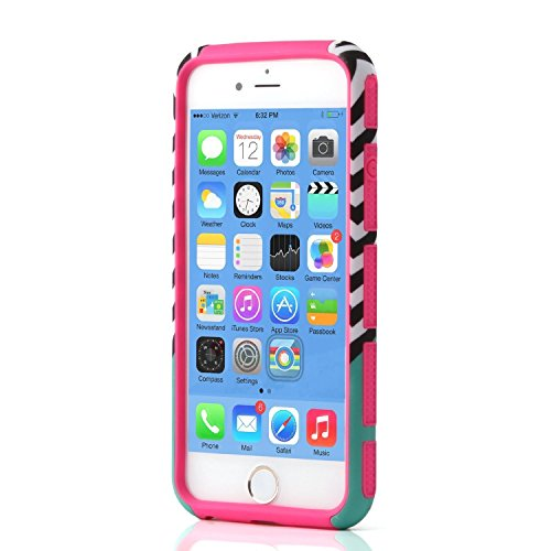 iPhone 6S hülle, Lantier Dual Layer Hybrid-Fest Slick Tough PC + TPU [Shockproof] [Thin Slim Fit] [Lightweight] [Mode-Design] Rüstung Defender Case für iPhone 6 / 6S 4,7 Zoll Wave-Anker-Muster Pink-
