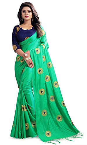 Green Silk Saree - Mirraw Traditional Designer Green Paper Silk Embroidery Saree for Women with Unstitched Blouse