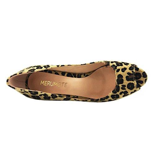 Häihin Peep Korokekenkien Korkokengät Faux Pumput Leopard Jouhet Toe Mekko Merumote Naisten WHqS1w7S0