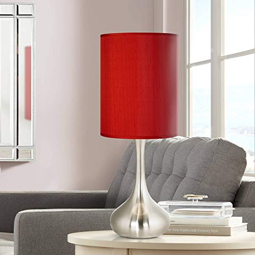 Modern Accent Table Lamp Brushed Steel Metal Droplet China Red Faux Silk Cylinder Shade for Living Room Family - Possini Euro Design