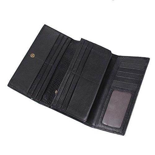 Brown Long Wallet Uomo Della Del Di Nero Da colore Black Vacchetta Pelle Titolare Carta Clutch Portafoglio In Vintage Nero Organizzatore ZPqC8EWwF