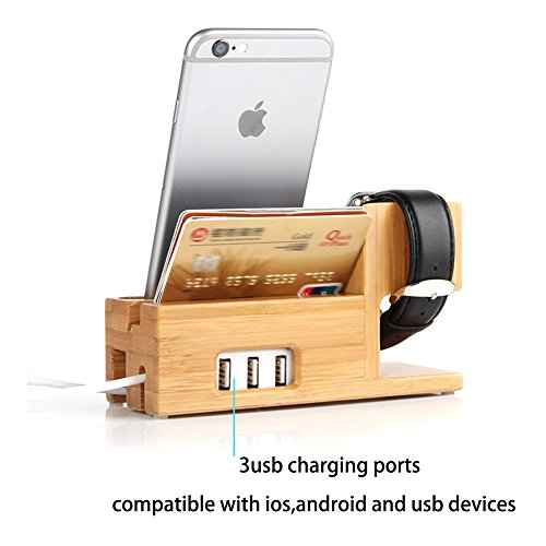 Apple Watch And Iphone Charging Station Bamboo Wood