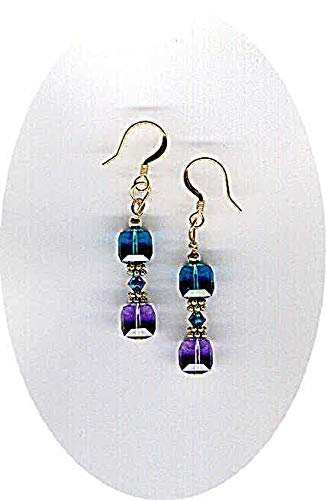 Swarovski Indicolite and Tanzanite Crystal Cubes with Swarovski Peacock AB 2X Bicone Crystal Earring