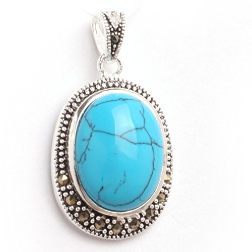 20x36mm Oval Faceted Dyed Blue Turquoise Beads Marcasite Tibetan Silver Pendant