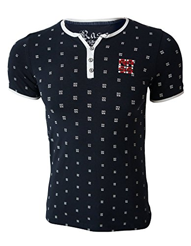 Rass Collection MFL-2683 Henley T-shirt - Men's Tee Shirts Navy - Gold Get How To Minecraft