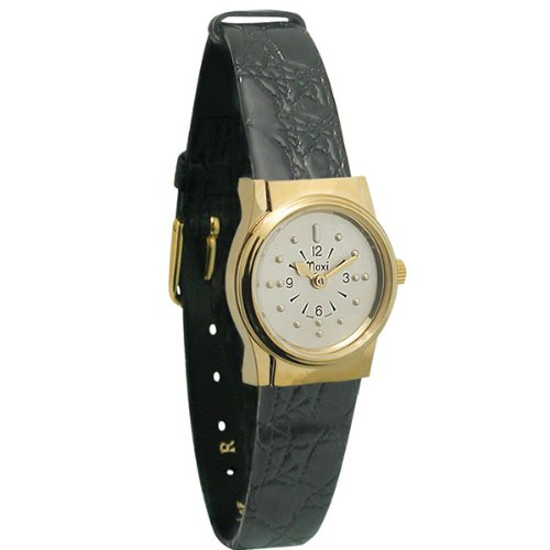 Ladies Gold Tone Quartz Braille Watch with Leather Band by MaxiAids