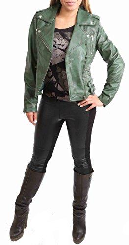 Estilo Chaqueta Ajustada Cara Mujer Motocicleta del Cruzar Cuero Verde Cremallera Real Biker x0vxqEAfw