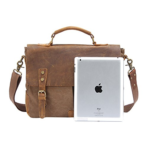 Wolu Retro Designer mens pelle tela borsa messenger tote bag spalla valigetta