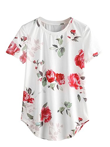 SheIn Women's Round Neck Floral Print Short Sleeve Casual Tee Tshirt