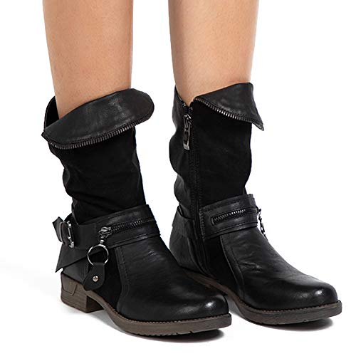 LALA IKAI Women Leather Ankle Boots Low Heel Round Toe Combat Boots Biker Boots with Side Zipper Casual Shoes Black