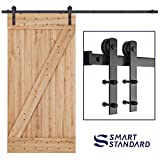 SMARTSTANDARD 8ft Heavy Duty Sturdy Sliding Barn Door Hardware Kit - Smoothly and Quietly-Simple and Easy to Install-Includes Step By Step Installation Instruction-Fit 42'-48'Wide Door Panel (I shape)