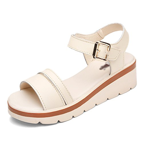 Sandals ZCJB Wedge For Women Summer Mid Heel Women's Shoes Flat Bottom Women Thick-soled Shoes (Color : Brown, Size : 40) Beige