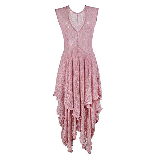 a1895fe1b4d1 SANFASHION 2019 Easter Day Retro Women's Boho Irregular Lace Sexy Double  Layered Ruffled Trimming Long Dress