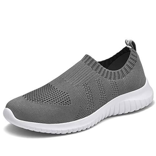 TIOSEBON Women's Walking Shoes Lightweight Mesh Slip-on- Breathable Running Sneakers 13 US Deep Gray