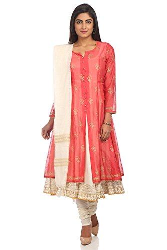 BIBA Women's Pink Polyster Salwar Kameez Dupatta Size 34