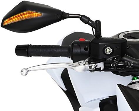 Espejos retrovisores para moto con indicadores LED Kymco Xciting R 500/i 05-09 (1 par), color negro: Amazon.es: Juguetes y juegos