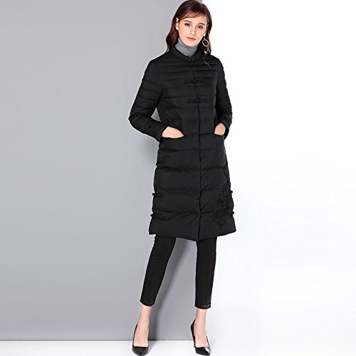 Medium Coat Color Sleeve Collar L Solid DYF Jacket Length FYM COAT Down Black Button Long qwPIgx