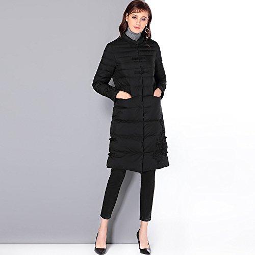 Medium Coat Color Sleeve Collar L Solid DYF Jacket Length FYM COAT Down Black Button Long qwPIgx