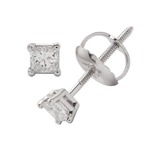Diamant Coupe Princesse certifié IGI Boucles d'oreilles clous en or blanc 14K (buyfinediamonds g-H Clarté couleur, VS1-VS2)