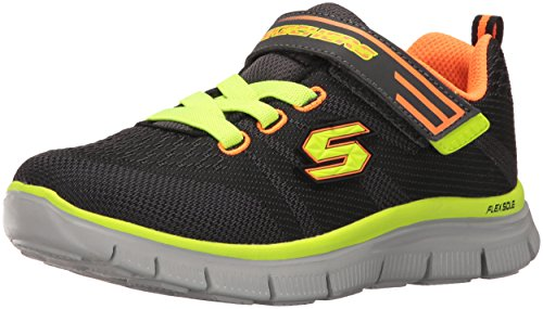 Skechers Kids Flex Advantage-Master Mind Athletic Sneaker (Little Kid/Big Kid) Charcoal/Orange