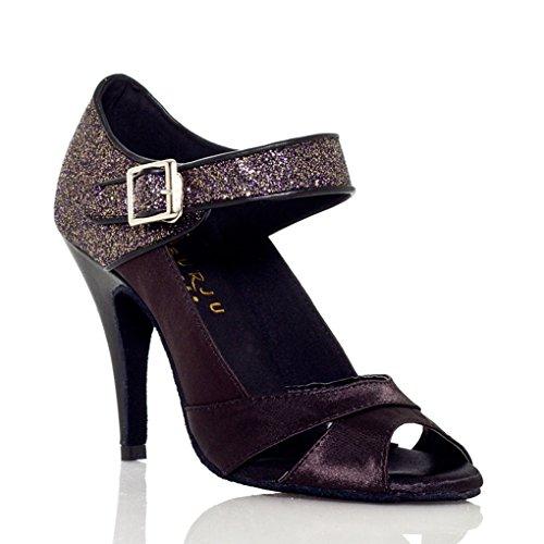 f6156cf7f60 chic Kevin Fashion Women s Flared Heel Glitter Cha Cha Salsa Ballroom Latin  Dance Shoes