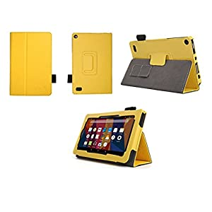 Case for Kindle Fire 7 Inch Tablet - Folio Case with Stand for Kindle Fire 7 Inch Tablet (5th and 7th generation) - (Yellow)
