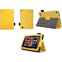Case for Kindle Fire 7 Inch Tablet - Folio Case with Stand for Kindle Fire 7 Inch Tablet - (Yellow)