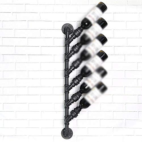 (ZXL Wine Rack Wrought Iron Black Water Pipes Suspension 6 Bottles Retro Style Show Personality Creative Decoration Living Room Wine Cabinet)