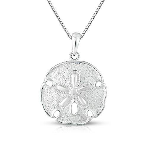 "Unique Royal Jewelry Sterling Silver Solid Two Sides Medium Size Sand Dollar Starfish Charm and Necklace. (18"" Inches)"