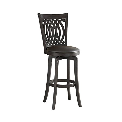 [Hillsdale Van Draus 30-Inch Swivel Barstool and Flare Leg, Black Finish with Black Vinyl] (Bar Stool 6 Finishes)