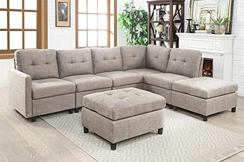 Sectional Sofa Set Reversible Corner Sectional with Ottoman L-Shaped Couch DIY Reversible Modular Futon Couch Furniture for Living Room Furniture (Light Gray B)