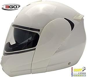 3GO E115 CASCO DE MOTO MODULAR INTEGRAL DOBLE VISERA HOMOLOGADO UNISEX ADULTOS BLANCO MUY BARATO (M (57-58 CM))