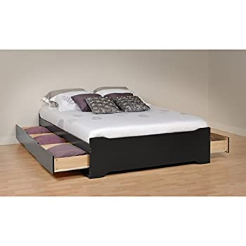 Image of Modern Full Size Platform Storage Bed, Jet Black Laminate, Bedroom Furniture, with 6 Drawers in Black Finish, Made from Composite Wood, Bundle with Our Expert Guide with Tips for Home Arrangement Home and Kitchen
