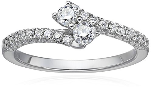 IGI Certified 14k White Gold Diamond Two Stone Plus Engagement Ring (1/2cttw, H-I Color, I1-I2 Clarity), Size 7