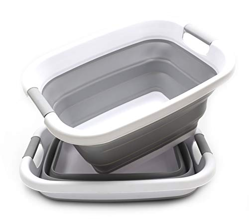 SAMMART Set of 2 Collapsible Laundry Basket/Tub - Foldable Storage Container/Organizer - Portable Washing Bin - Space Saving Hamper - Car Trunk Storage Box (2, Grey)