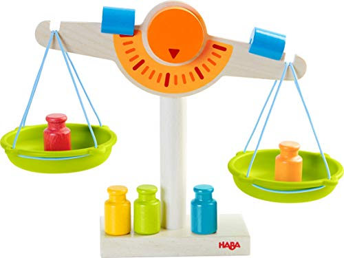 (HABA Play Store Scale - Wooden Balance with Real Weights for Pretend Kitchen & Measuring Fun)