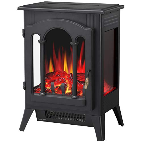 """R.W.FLAME Infrared Electric Fireplace Stove, 16"""" Freestanding Fireplace Heater, Realistic Flame Effects, Adjustable Brightness and Heating Mode, Overheating Safe Design, 1000W/1500W, Black"""