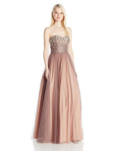 Blondie Nites Long Junior Ballgown Lace up Back, Taupe, 1