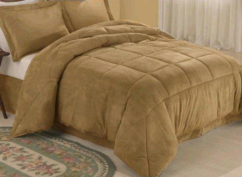 Camel Microsuede Down Comforter Alternative 4 pc Bedding Set - Queen Size - Microsuede Comforter