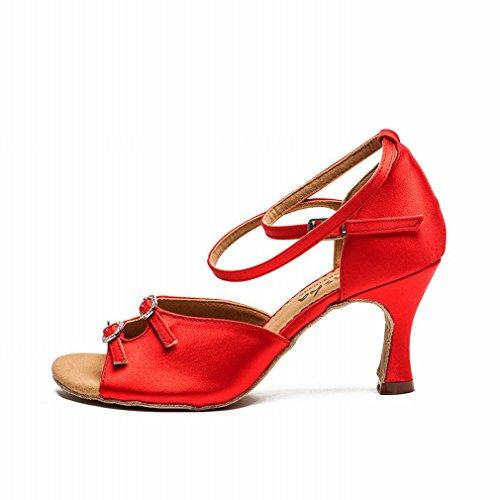 BYLE Sandalias de Cuero Tobillo Modern Jazz Samba Zapatos de Baile Zapatos de Baile Latino Hembra Adulta con Zapatos de Cuero Rojo de Satén de Rendimiento Onecolor