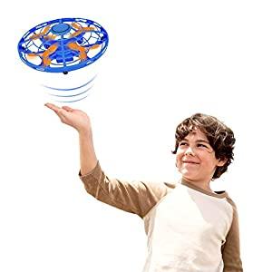 Mini Drones Infrared Induction RC Flying Toy for Kids and Adults-Built-in LED Light Disco Helicopter Shining Colorful Flying Drone Indoor and Outdoor Games Toys for Boys and Girls