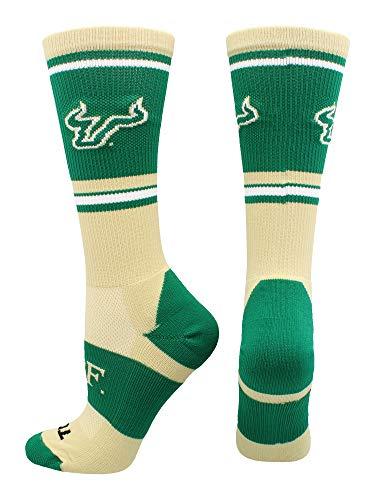 TCK Sports South Florida Bulls Jersey Crew Socks (Gold/Green, Medium)