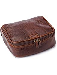 Moore and Giles American Bison Leather Donald Dop Toiletries Kit - Brown