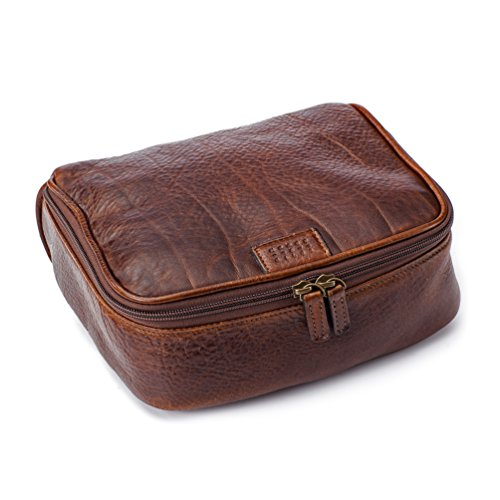 Moore and Giles American Bison Leather Donald Dop Toiletries Kit - Brown by Moore and Giles
