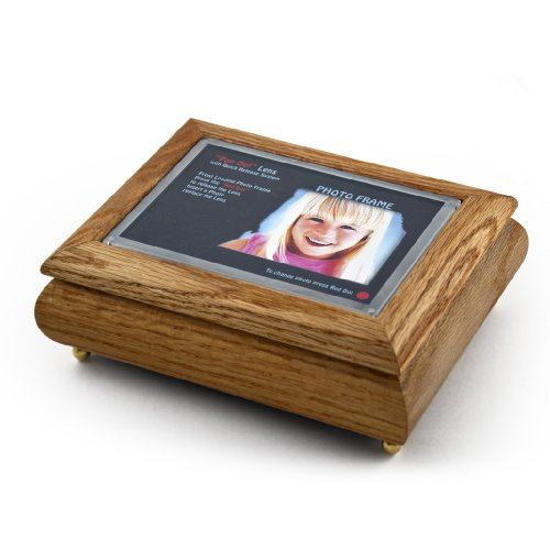 4'' X 6'' Oak Photo Frame Musical Jewelry Box With New''Pop - Over 400 Song Choices - Out'' Lens System Rock of Ages Christian Version by MusicBoxAttic