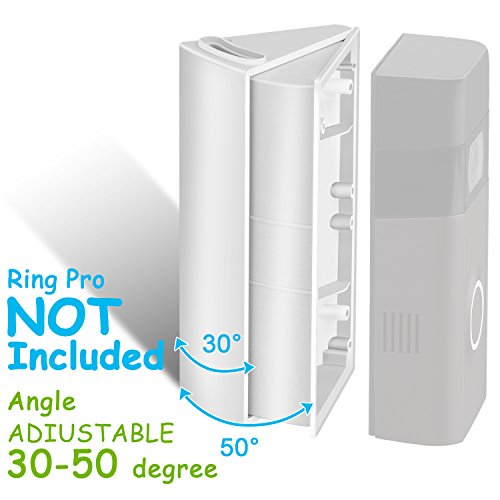 ADJUSTABLE (30 to 55 degree) Angle Mount for Ring Video Doorbell 2(Released in 2017), Angle Adjustment Adapter/Mounting Plate/Bracket/Wedge Kit (Doorbell NOT included, (2 Hole Angle Plates)